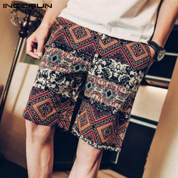 INCERUN Hawaii Floral Print 100%Cotton Men's Shorts Joggers BoardShorts Knee-Length Loose Bermuda Hombre 5XL Beach Shorts