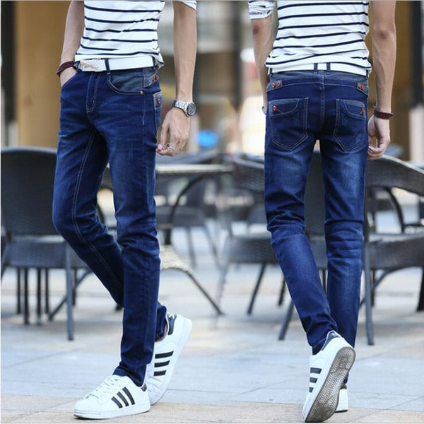 Casual Biker Motor Male Trousers 2018 Blue Buttons Pockets Design Slim Fit Skinny Denim Pants Men's jeans Stretch Joggers Jeans
