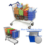 4pcs/set Cart Trolley Supermarket Shopping Bag Grocery Grab Shopping Bags Foldable Tote Eco-friendly Reusable Supermarket Bags
