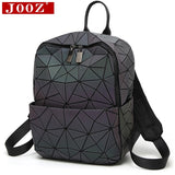 JOOZ Hologram geometric diamond checkered backpack luminous travel men and women backpack pvc laser holographic sac a dos