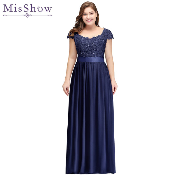 Long Navy Blue Mother Of The Bride Dresses plus size 2018 Chiffon Beaded Appliques Sheer Back Groom Mothers Dresses Wedding
