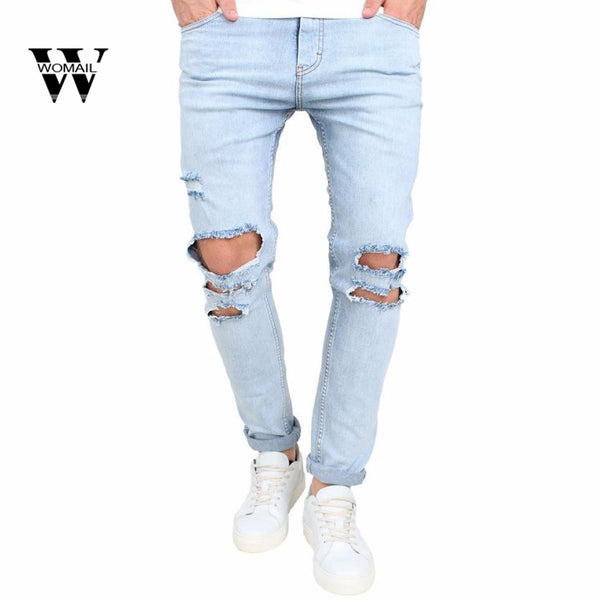 2018 Hot sale Men's Stretchy Ripped Skinny Biker Jeans Destroyed Taped Slim Fit Denim Pants Casual Men's pants
