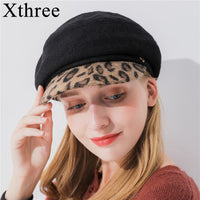 Xthree women's wool octagonal cap winter hat with Leopard Print visor fashion newsboys hat girl autumn hat for women