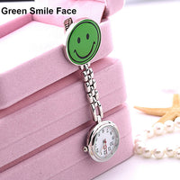 Colorful Women's Watch Butterfly Smile Face Quartz Clip-On Brooch Nurse Hanging Pocket For Women Fob Watches Relogio
