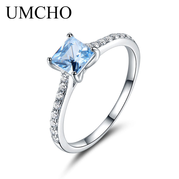 UMCHO Sky Blue Topaz Rings For Women Real Solid 925 Sterling Silver Korean Fashion Ring Birthstone Girl Gift Wholesale Jewelry