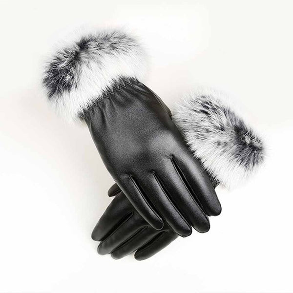 Women Warm Winter PU Leather Gloves Mitten Rabbit Fur Thick Elegant Windproof Free Size Fashion Female Touch Screen Wrist Gloves