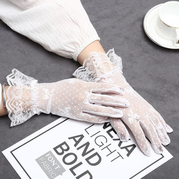 Lady Lace Gloves Sun Protection Accessories Lace Hollow-Out Full-finger Gloves Women