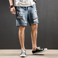 2018 summer boutique hole denim shorts men's large size fashion washed casual five points pants tide straight zipper jeans