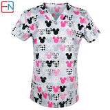 180403 NEW Hennar Women Scrub Top With V-Neck 100% Cotton Print Surgical Medical Uniforms Hospital Nurse Scrub Tops For Women