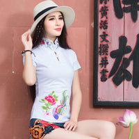 Cheongsam Top Traditional Chinese Clothes For Women Long Sleeve Plus Size 5XL Shirt Cotton Vintage Clothing Top Tee Blouse Shirt