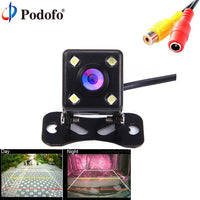 Podofo Car Rear View Camera Universal 4 LED Night Vision Backup Parking Reverse Camera Waterproof 170 Wide Angle HD Color Image
