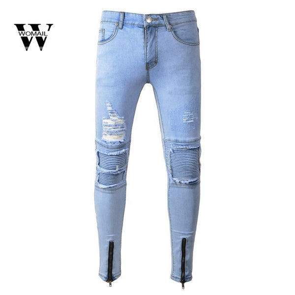 2018  Hot sale Mens Ripped Slim Fit Motorcycle Vintage Denim Jeans Hiphop Streetwear Pants  for all season blue pants