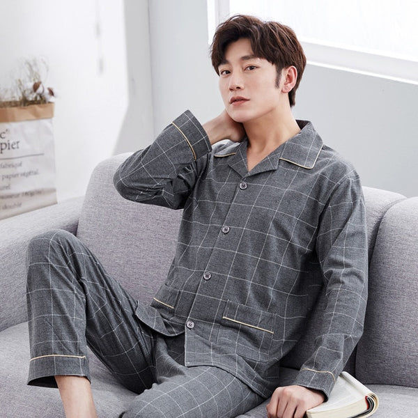 2018 WAVMIT Men Pajama Sets Spring Autumn Winter Plus Size 100% Cotton Long-sleeve Male Sleepwear 3XL Lounge Set Tracksuit Sets