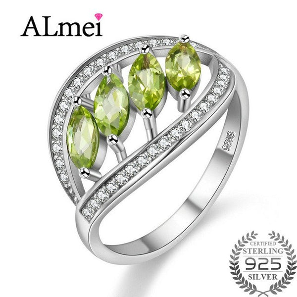 Almei Green Spinel Zircon Ring Band Leaf Shape Natural Stone Wedding Rings Pure 925 Sterling Silver Women's Fine Jewelry FJ110