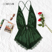 COLROVIE Pink Sexy Open Back Lace Teddy Pajamas 2018 Army Green Summer Wireless Satin Women Nightgowns V Neck Bow Sleepwear