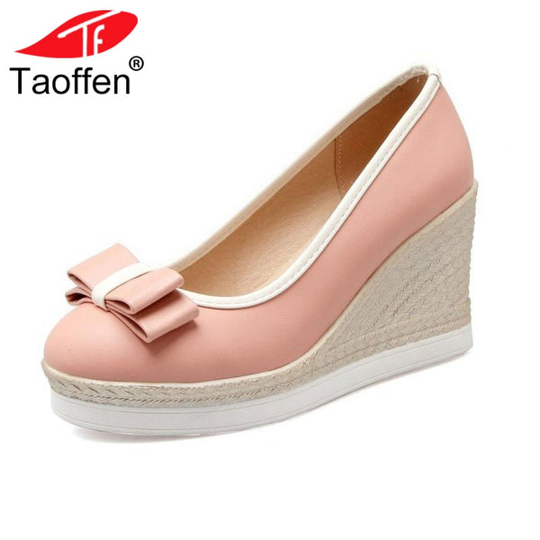 TAOFFEN Classic Brand Women Wedges High Heels Platform Round Toe Pumps Women Girls Bowtie Slip-on Zapatos Mujer Shoes Size 33-43