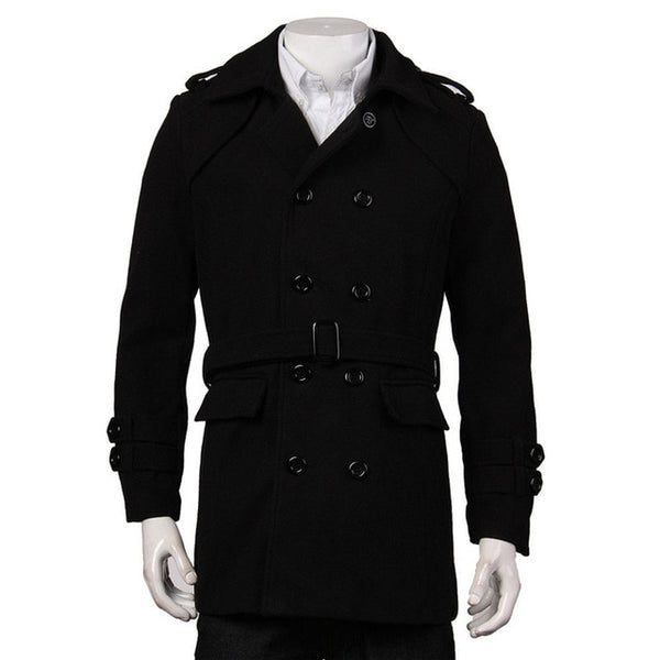 Fashion Winter Men Jackets Black Grey Faux Wool Trench Men Cardigan Business Clothes Slim Fit Belted Long Coat Outwear Hombre