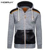 INCERUN Autumn Hoodies Men Hombre Zipper Jacket Hoodie Sweatshirt Slim Fit Hoody Coat Pullover Coat Men Winter Clothes