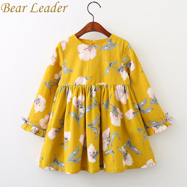 Bear Leader Girls Dress 2018 Brand Printing Princess Dress Autumn Style Long Sleeve Flowers Printing Design for Children Clothes