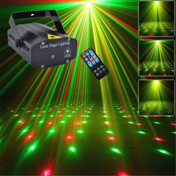 Mini Portable Remote 110-240V Red Green Laser Meteor Projector Lights DJ KTV Home Party Dsico Xmas LED Stage Lighting Q100B
