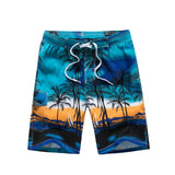 Comfortable Hawaii Shorts Coconut Floral Men Summer Shorts Knee Length Male Hombre Masculina Elastic Waist Bermuda Shorts Beach