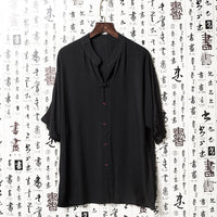 Brand Retro Men's Shirts Dress Linen Dress V Neck Short Sleeve Loose Fit Male Tee Tops Camisa Hombre Men Clothing Casual Shirts