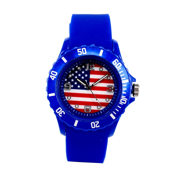 Flag Pattern Print Watches Football Quartz Watch Silicone Soft Comfortable Sports Wristwatches Relogio Masculino
