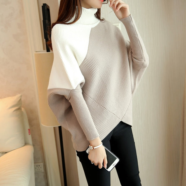 HAO HE SHEN Female winter sweater loose turtleneck sweater 2018 irregular Korean female backing sweater coat thick