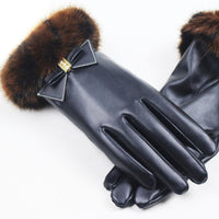 2018 New Popular Women Touchscreen Long Leather Gloves Black Girls Driving Gloves Hairy Bow-knot LuvaDeCouro Inverno Mittens
