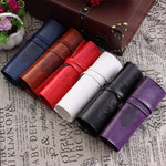Leather Vintage Roll Up Cosmetic Storage Make Up Brushs Tool Case Pouch Soft Lightweight Bag Stationery School Supplies