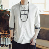 Chinese Shirts Mens Cotton Shirts Dress Stand Collar Button Decor 3/4 Sleeve Floral Autumn Hombre Camisa Shirts 5XL INCERUN