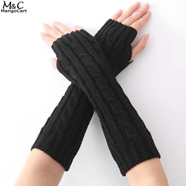 Fingerless Outdoor Solid Warm Women Long Thick Knitted Gloves