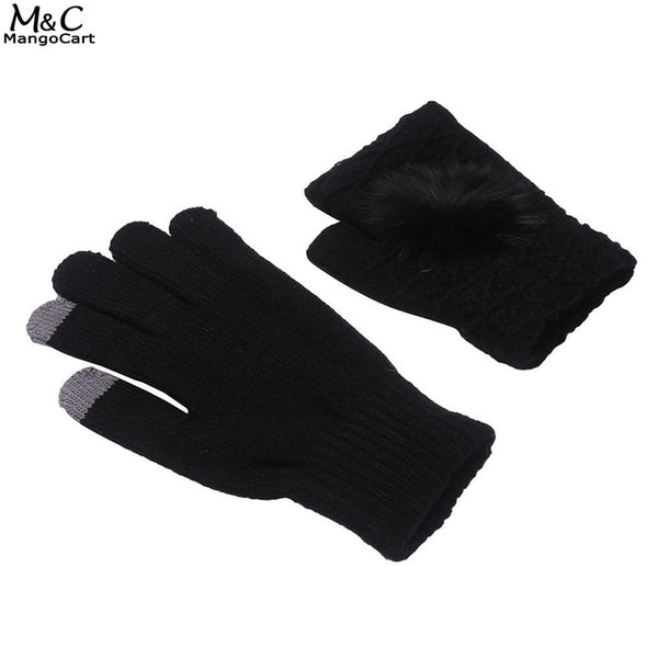 2 Knit Pom-pom Decor Multi-function Touch Screen Women Pieces Set of Gloves