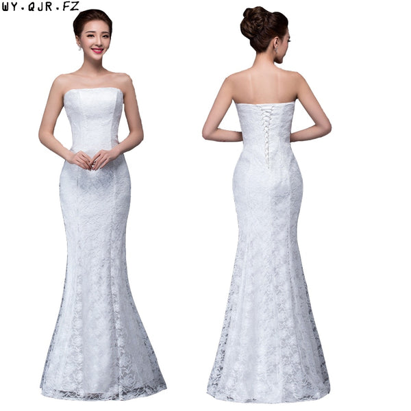 DM2670B#2018 spring summer new fish lace up tail sexy long bride toast wedding party dress Wholesale white Bridesmaid Dresses