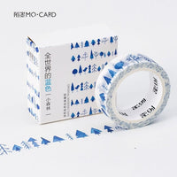 Creative Blue Notes Raindrops Forest Flags Stars Clouds Decorative Washi Tape Diy Scrapbooking Masking Tape School Office Supply
