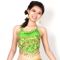 Women Coins Belly Dance Bra Top Blouse Costume Adjustable Bellyband Vest