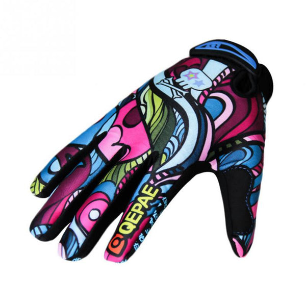 New High Quality Leather+SBR+Cotton Full finger Gloves Colorful Fashion Street Style Pattern Gloves