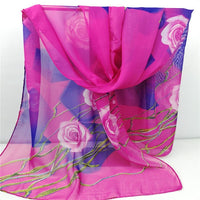 2018 New Women Chiffon Silk Scarfs Fashion Spring Square polyester Scarves Print flowers Shawl Summer Shawls And Hijabs