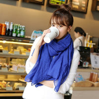 180*60cm Women Cotton and Hemp Solid Colors Elegant Scarves Female Extra Length Autumn&Winter Shawl Hijab Wraps 5Colors