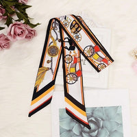 2018 New Scarf in Women's Scarf Horse Print Skinny Bag Scarf Brand Silk Fabric Foulard Women Tie Fashion Head Scarves For Ladies