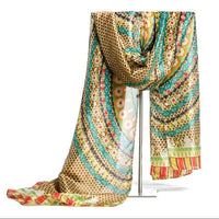 High Quality Silk in Women's Scarf Floral Print Elegant Scarves Female Extra Length Autumn&Winter Shawl Hijab Wraps 4Colors