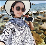 180x90cm Ethic Geometric Square Scarf Twill Cotton Bohemia Thailand Style Scarf And Shawl Sun Protection Head Wraps 4Colors