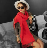 Fashion women's cashmere scarf long section soft ladies retro solid color scarf luxury brand bohemian style
