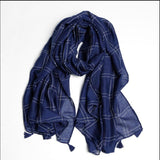 190x90cm Autumn&Winter Women's Scarves Cotton Plaid Print Scarf  Elegant Style Scarf And Shawl Sun Protection Head Wraps 4Colors