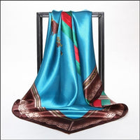 Fashion Women large soft satin imitated sik scarf Printed square 90*90cm Luxury Design Covers Cloth Gifts Many Uses /Wholesale