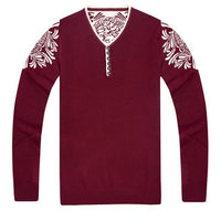 New 2018 Men Sweaters and Pullovers V-neck Sweater Men Long Sleeve Men Sweater Red Dark Blue Christmas Sweater T6