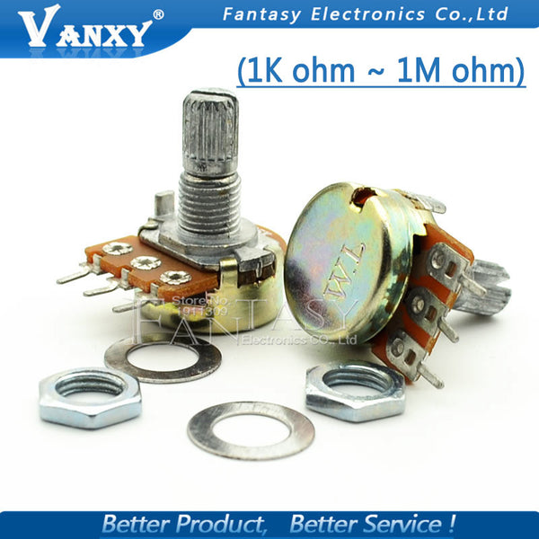 5pcs WH148 3pin B1K B2K B5K B10K B20K B50K B100K B250K B500K B1M Linear Potentiometer 15mm Shaft With Nuts And Washers