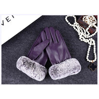 Evrfelan Brand Winter Gloves Women Thick Cotton Fur Gloves Ladies Hand Warmers Fashion PU Free Size Winter Wrist Gloves WithFur