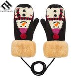 Evrfelan New Cotton Gloves For Women Thick Winter Gloves Lovely Snowmen Pattern Hand Warmers Gilrs Mittens Women's Gift