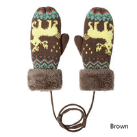 Evrfelan Trendy Rope Mittens Knitted Cotton Winter Gloves Lovely Elk Pattern Golves&Mittens Concinient Rope Hand Warmers
